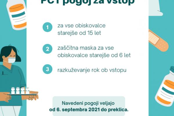 PCT pogoj za vstop v knjižnico –  možen prevzem gradiva brez PCT